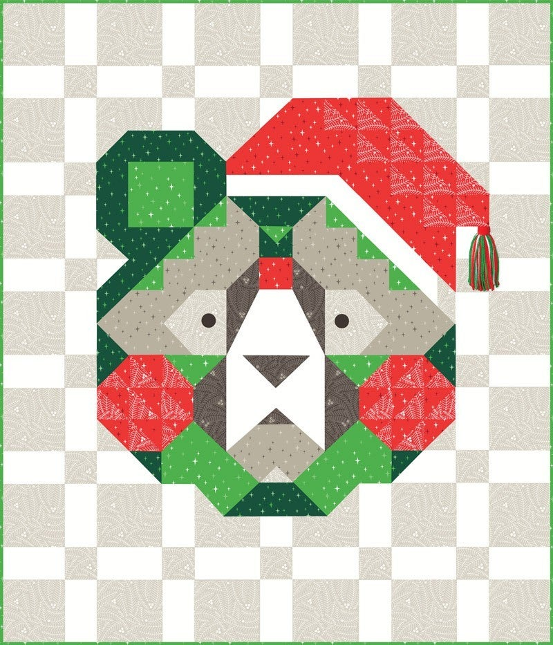 """Kit:  Holiday Bear 59"""" x 70"""" - Includes pattern and fabric top"""