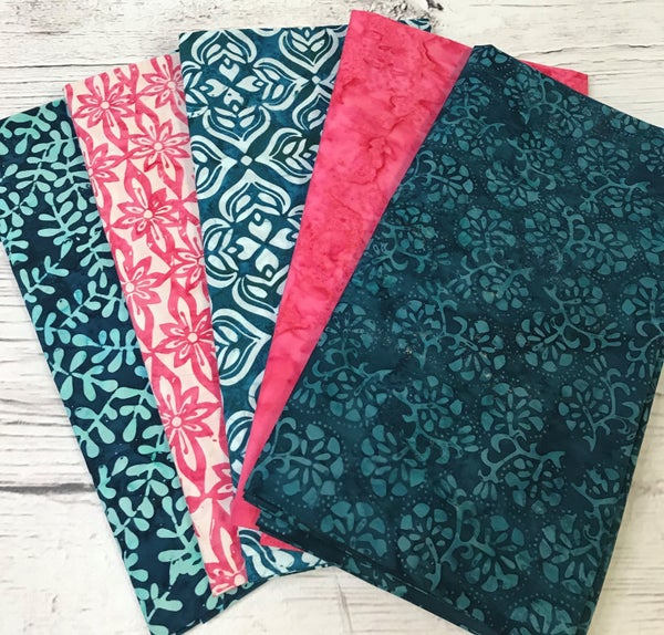 One Yard Cuts (5) - Batik Full House - Pink and Teal