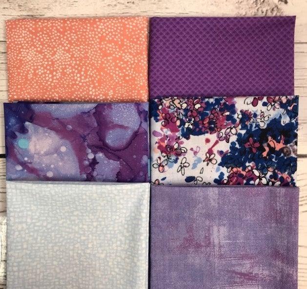 FQ Bundle (6) Blue and Lavender Floral