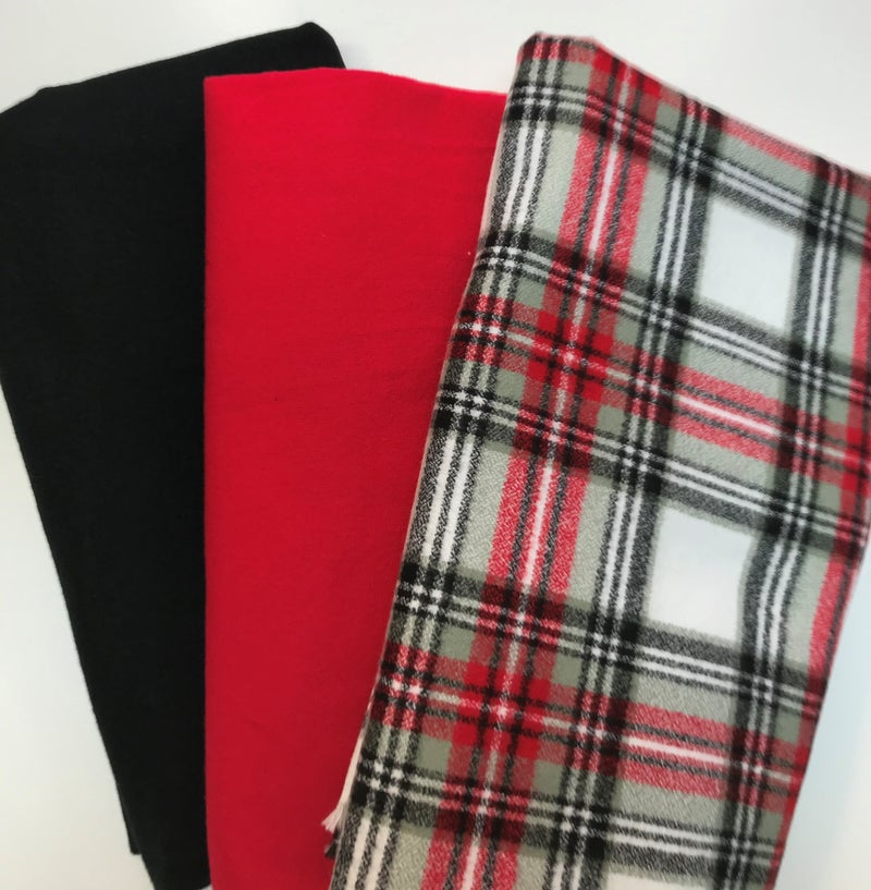 One Yard Cuts (3) - Black and Red Flannel