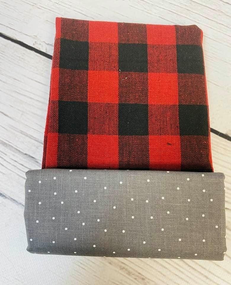 Towel Cowl Kit: Check and grey dot