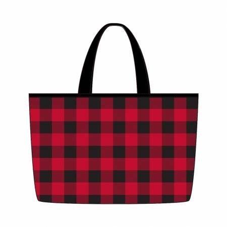 """Red Plaid Buffalo Check Tote Bag (22.5"""" x 14.5"""" )"""