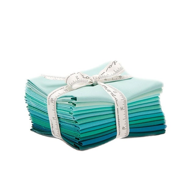 Bella Solids Fat Quarter Bundle Teals (12)