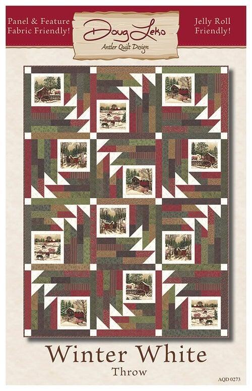 "Kit:  Winter White (Includes fabric/binding/pattern) 62"" x 82"""