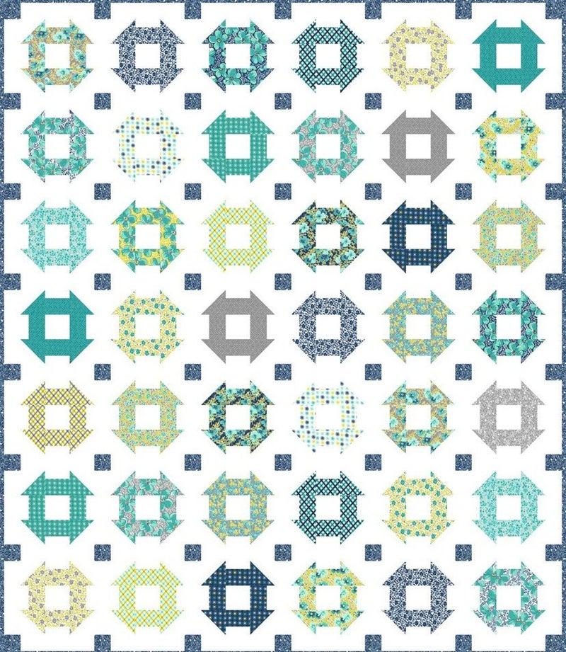 "Kit:  Flowers for Freya True Blue Sew Along 68"" x 79"""
