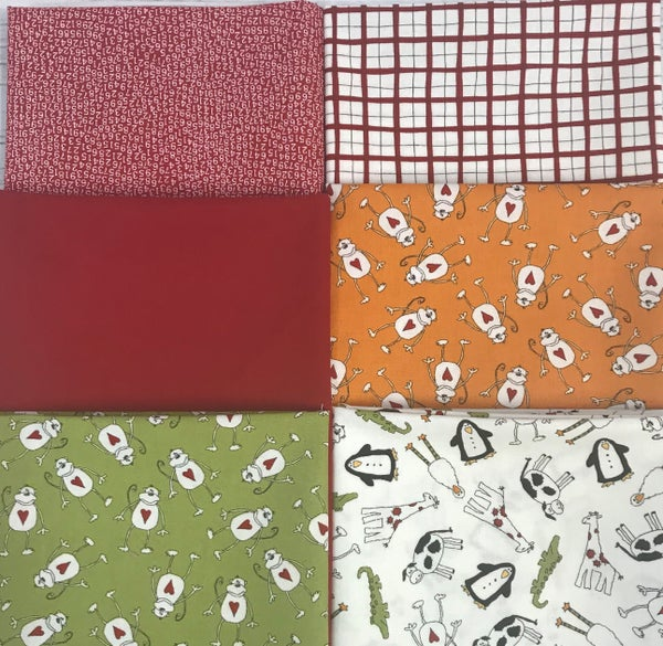 Fat Quarter Bundle (6) Animal Crackers in Red