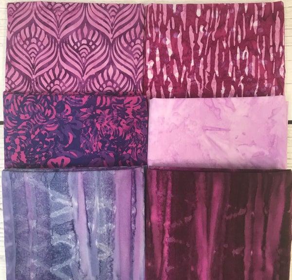 Fat Quarter Bundle (6) Raindrops on Roses Batik