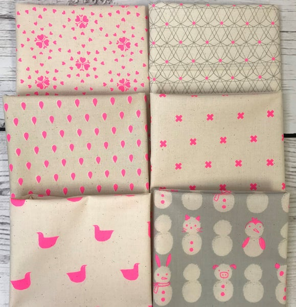 Fat Quarter Bundle (6) Neon Cotton and Steel