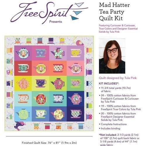 """Pre-Order (Del. May 2021) Tula Curioser&Curioser Mad Hatter Quilt Kit 76"""" x 81"""""""
