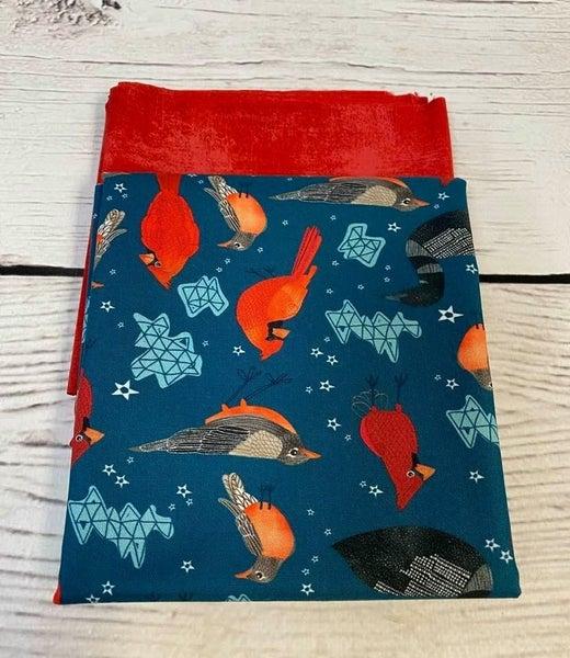 Cosmetic Bag Fabric Kit - Birds on Blue (Includes Batting/Zipper Kit)