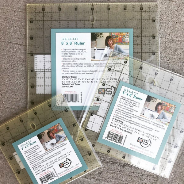 """Quilters Select Ruler Bundle (5, 6, 8"""" Square)"""