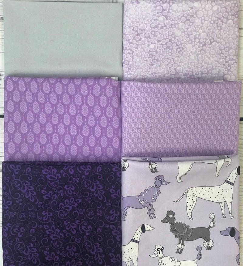 Fat Quarter Bundle (6) Purple Pooch