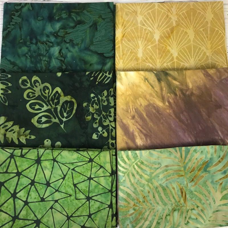 Fat Quarter Bundle (6) Batik Gold and Green