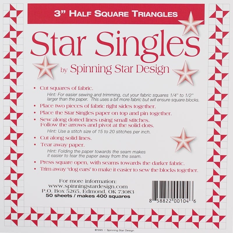"Star Singles 3"" Half Sq. Triangle Paper"