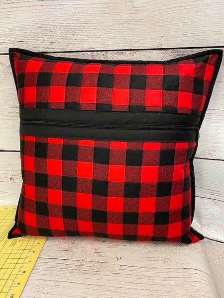 """Kit:  Red Plaid Zippity Do Done Pillow  18"""" (need pillow form)"""
