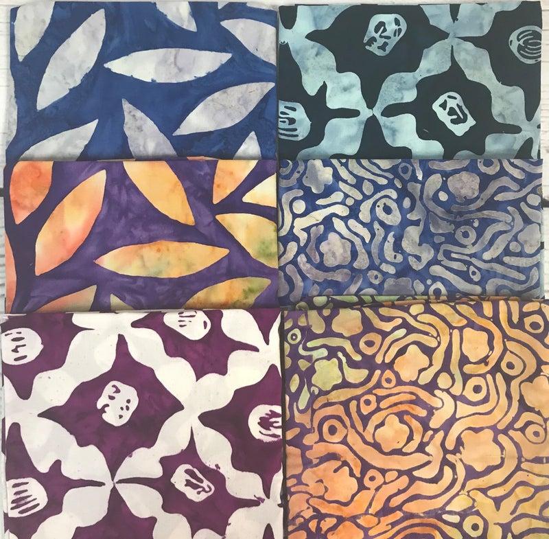 Fat Quarter Bundle (6) Batik Leaves & Trellis