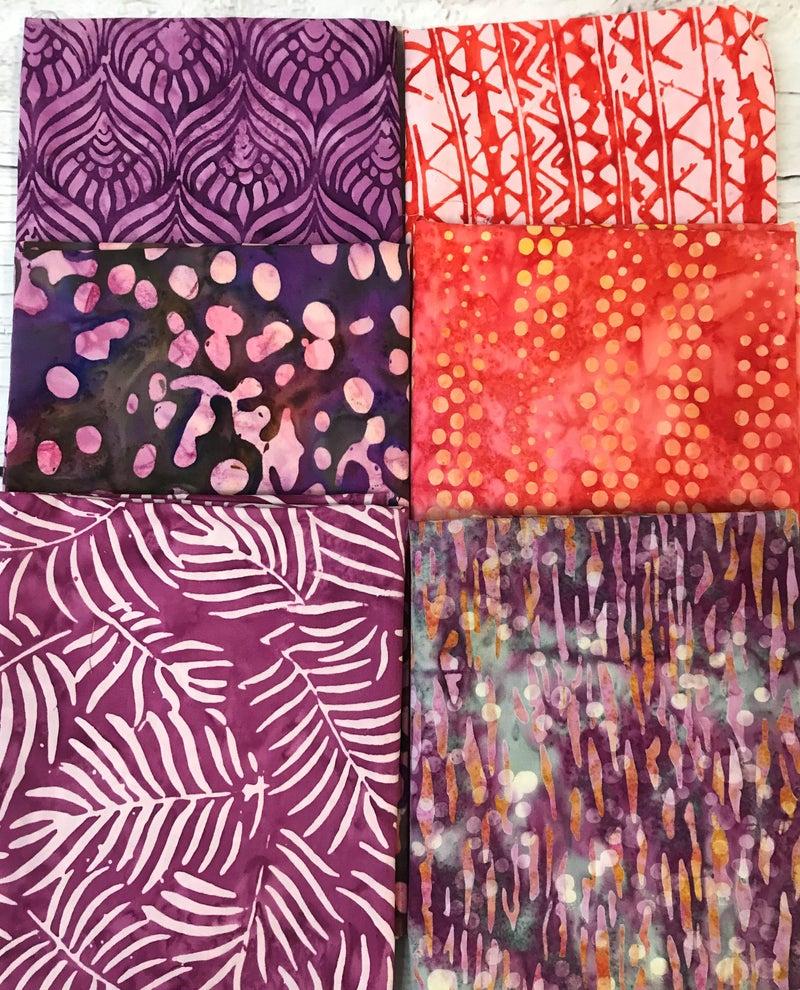 Fat Quarter Bundle (6) Batik Leaves and Dots