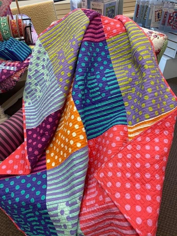 "Zip It Tula Poms and Stripes (Inc. Pattern & Binding)  48"" x 60"""