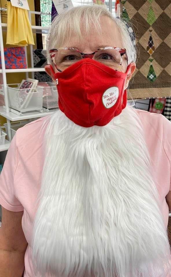 Kit: Face Covering Ho Ho Ho Red w/Santa Beard