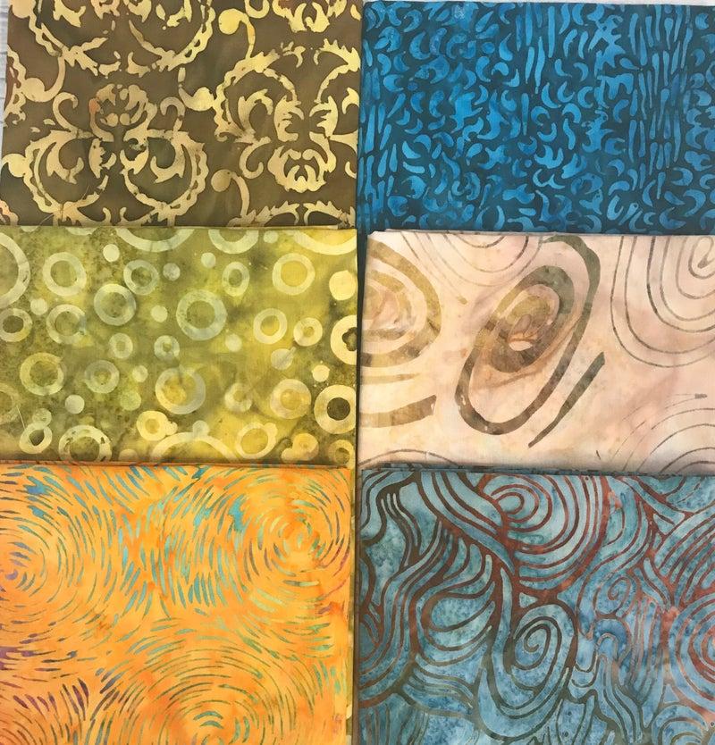 Fat Quarter Bundle (6) Batik Swirls in Gold and Blue