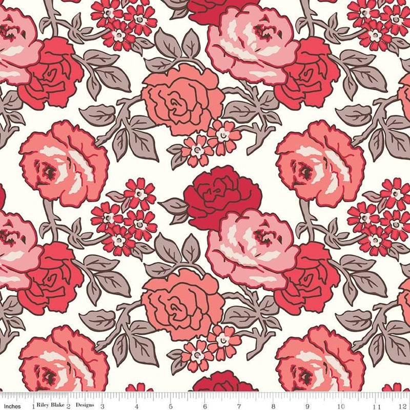 RIley Blake Flea Market Wideback Red Roses - One Yard