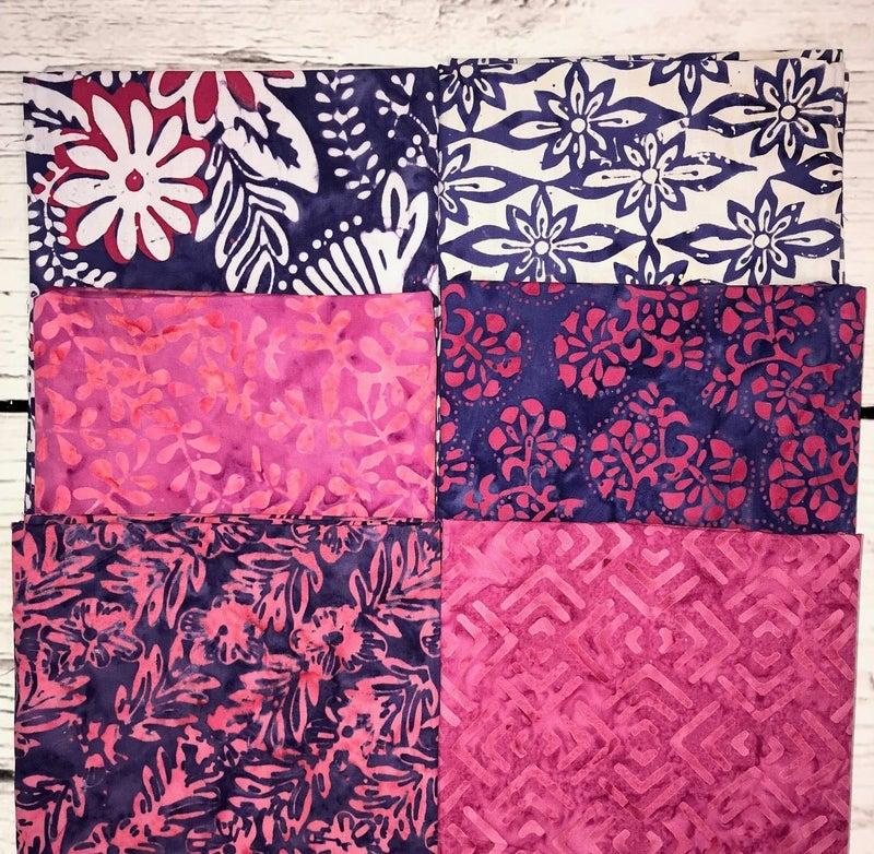 FQ Bundle (6) Purple and Pink Batik