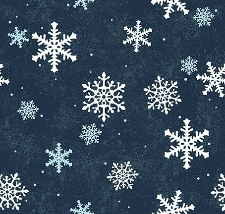 QMN 2021 Snowflakes Navy Blue 1/2 Yard Increment