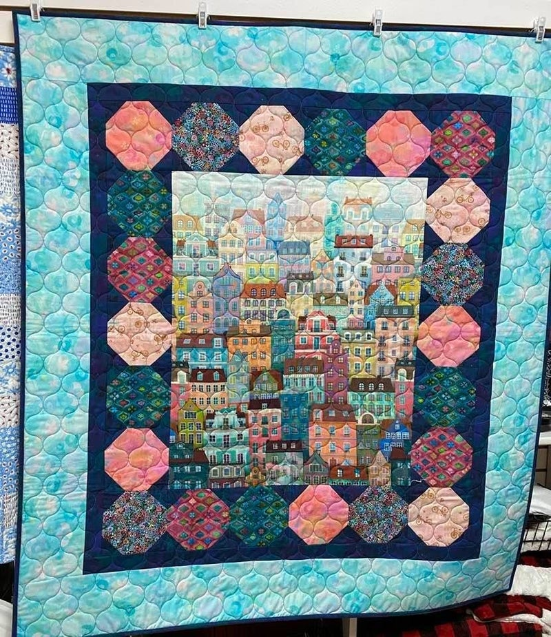 """Kit:  Rolling Along Cityscape 50"""" x 55"""" Pattern Included"""