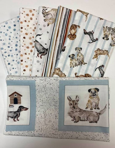 "Dog Bundle:  Includes one panel approx. 24"" and (5) 1/2 Yd. Cuts"