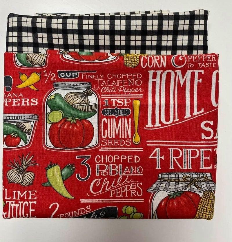Fabric Bundle:  One Yard Each Vegetable Red
