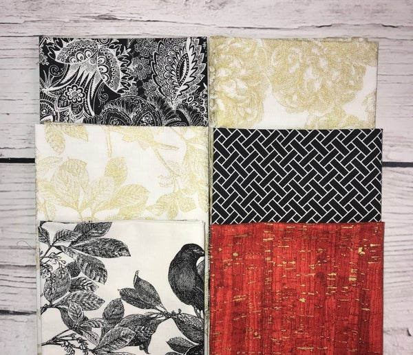 FQ Bundle (6) Floral in Black, Red and Gold