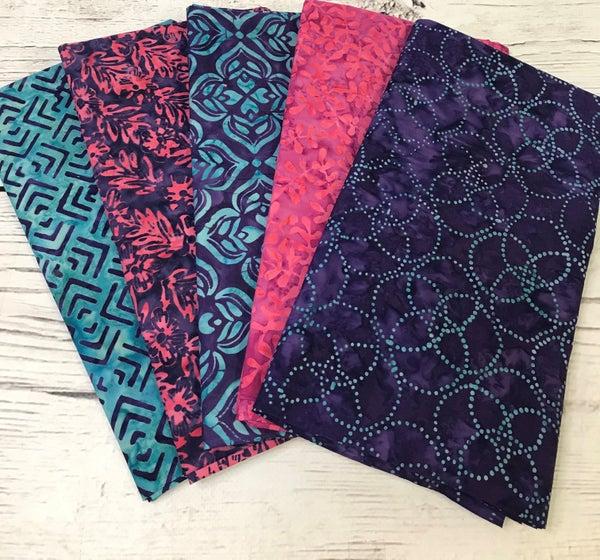 One Yard Cuts (5) - Batik Pink Purple Teal Group