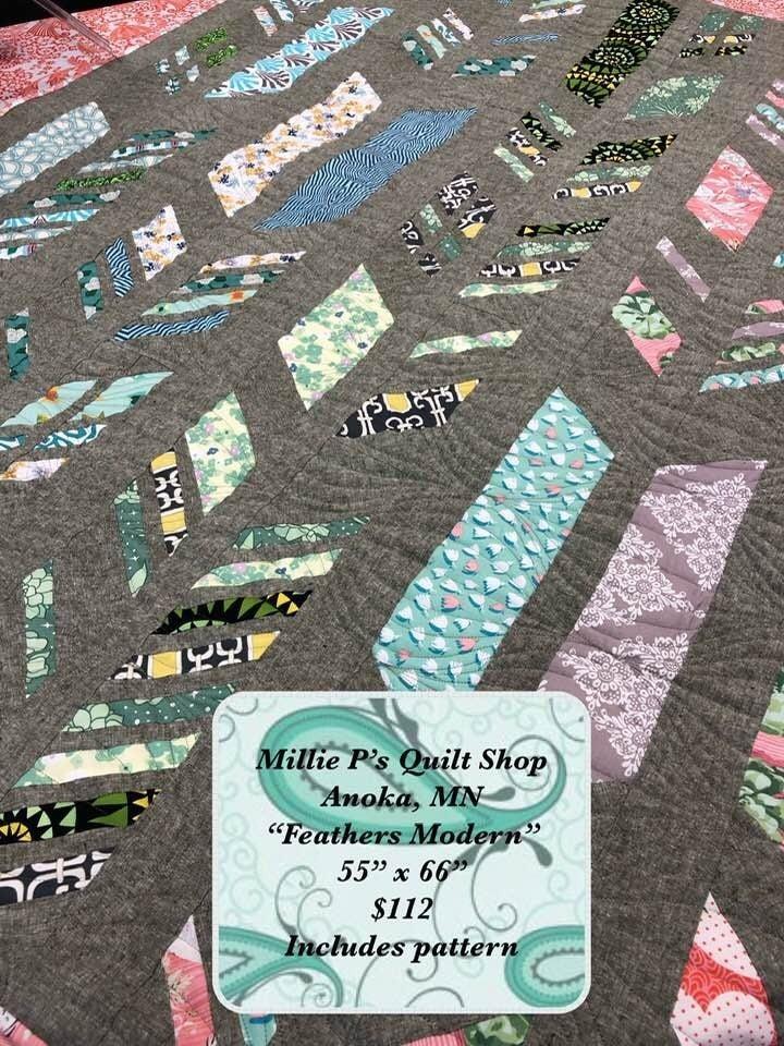 """Feathers Modern 55"""" x 66"""" Inc. binding/Ptrn"""