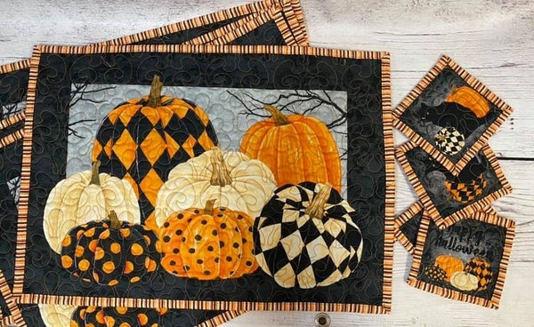 Kit:  Pumpkin Placemats (makes 4) includes backing/binding