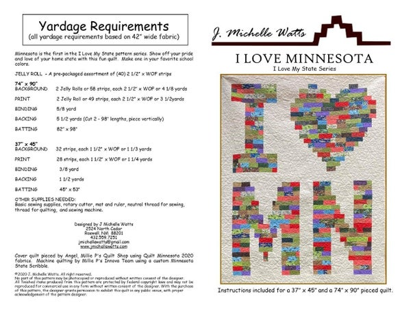 "Pattern:  Exclusive I Love MN (37x45"" or 74x90"") *Final Sale*"
