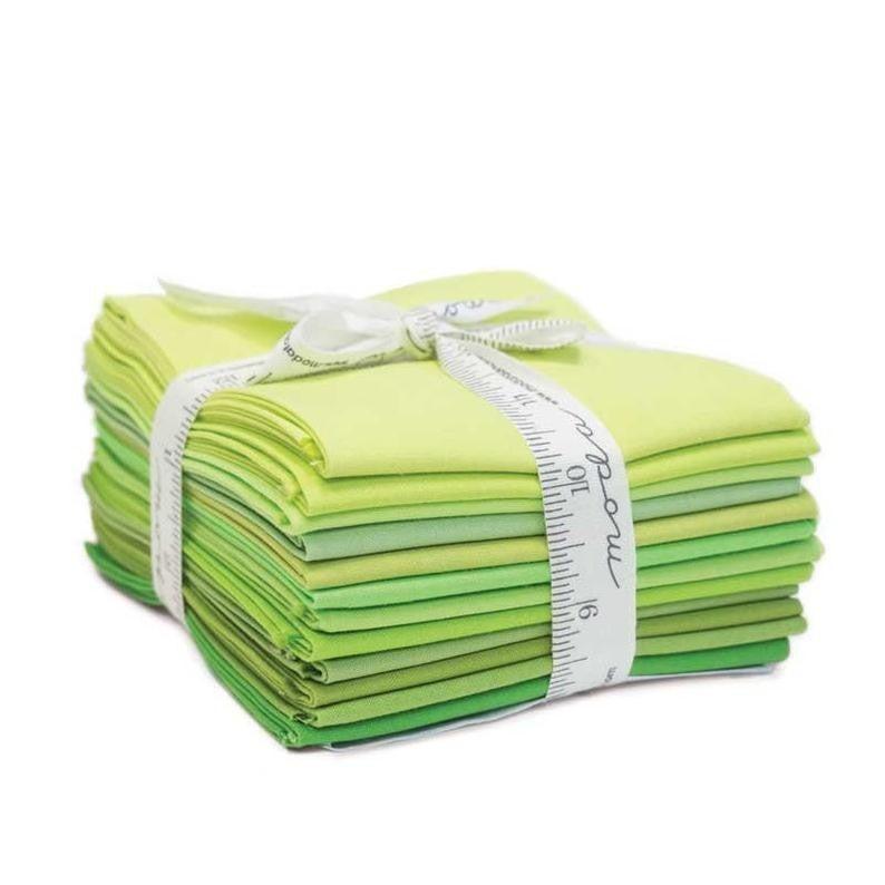 Bella Solids Fat Quarter Bundle Greens (12)