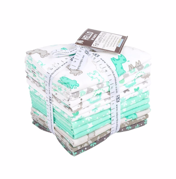 12 Fat Quarter Bundle Mint Grey Flannel
