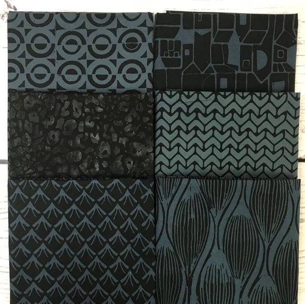 FQ Bundle (6) Black and Blue Batik
