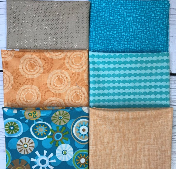 Fat Quarter Bundle (6) Aqua and Gold Gears