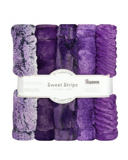 """Five Pack 10"""" Luxe Cuddle Strips Eggplant"""