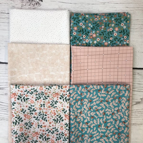 FQ Bundle (6) Floral Teals