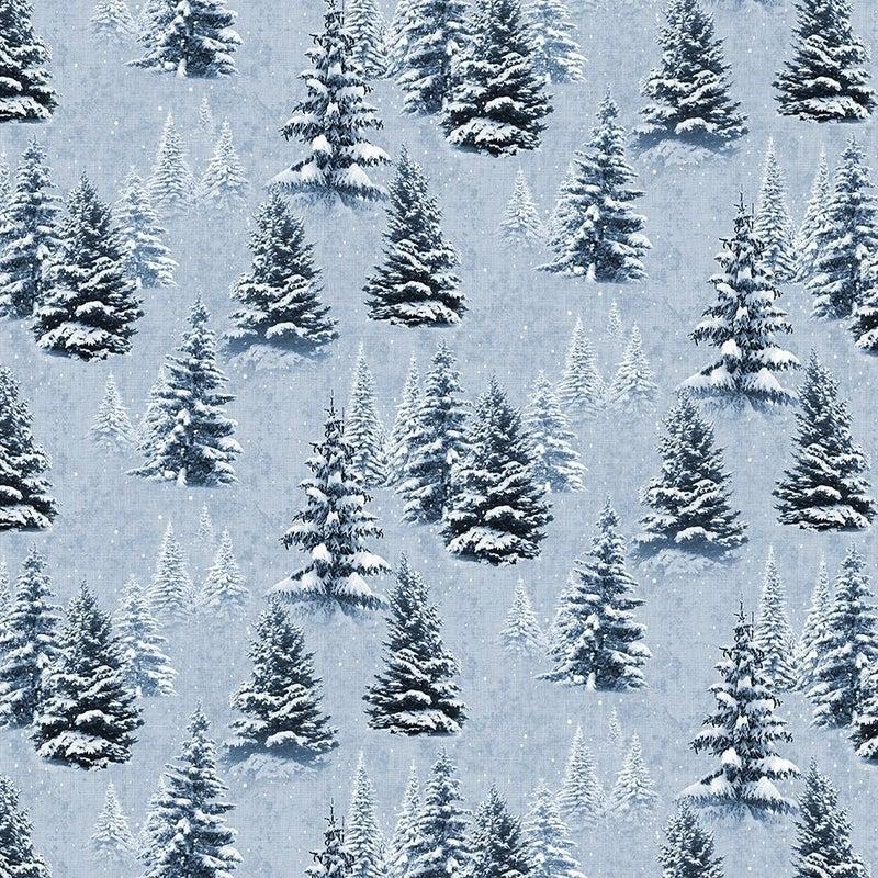 QMN 2021 Digital Snow Trees Light Denim 1/2 Yard Increment