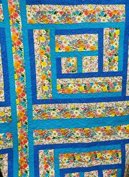 "Kit:  Wide Hedges Bright Flowers 90"" x 98"" Inc. ptrn"