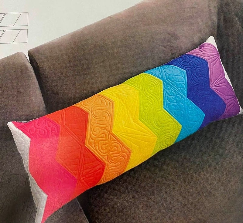 """Kit:  Jaybird Rainbow Zig Zag Pillow (pattern in book)  12"""" x 30"""""""