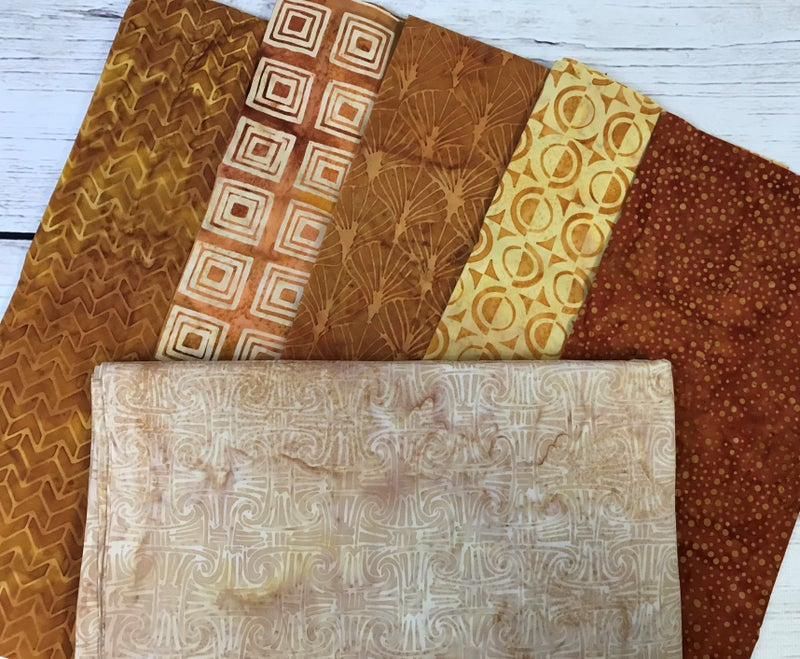 Kit - French Weave Pattern - Copper and Gold Batik with Columns Latte background fabric