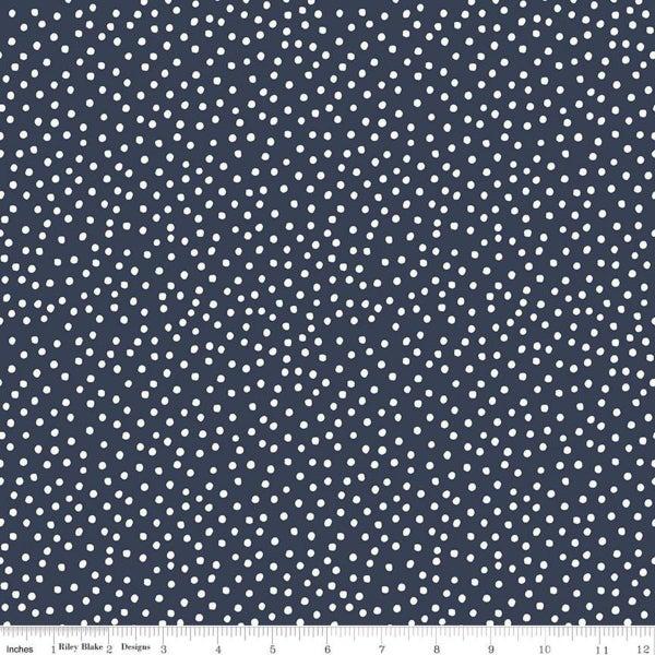 Riley Blake  Gingham Foundry Dots Navy - 1 Yard