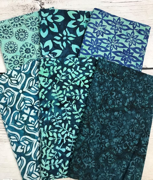 Fat Quarter Bundle (6) Batik Flowers in Green