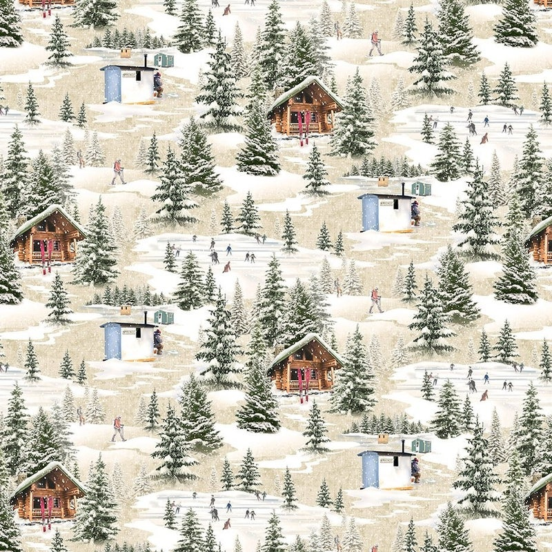 QMN 2021 Digital Winter Toile Taupe 1/2 Yard Increment