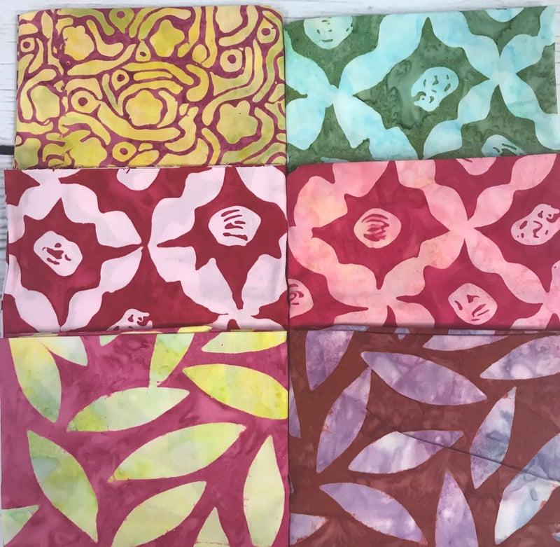 Fat Quarter Bundle (6) Batik Pink & Green Trellis