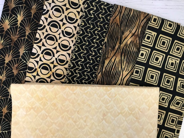 Kit - French Weave Pattern - Black and Gold Batik with Arch Honey background fabric